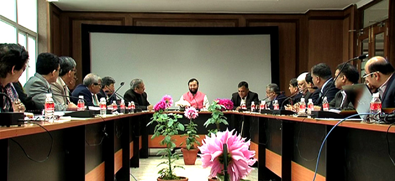 The Minister of State for Environment, Forest and Climate Change (Independent Charge), Mr. Prakash Javadekar holding the Brainstorming Meetings to Formulate Action Plan for 2016, in New Delhi on January 01, 2016. The Secretary, Ministry of Environment, Forest and Climate Change, Mr. Ashok Lavasa is also seen.