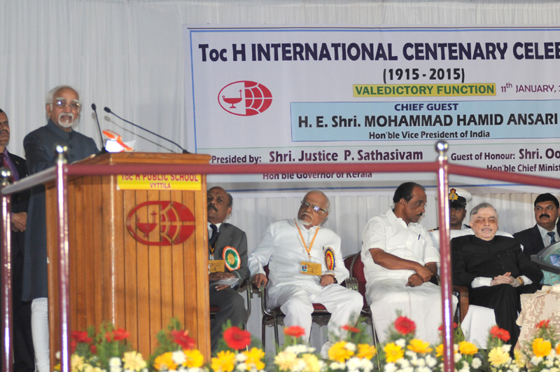 The Vice President, Mr. M. Hamid Ansari addressing the gathering during the Valedictory function of the Toc H International Centenary celebrations at Vyttila, Kochi, in Kerala on January 11, 2016.