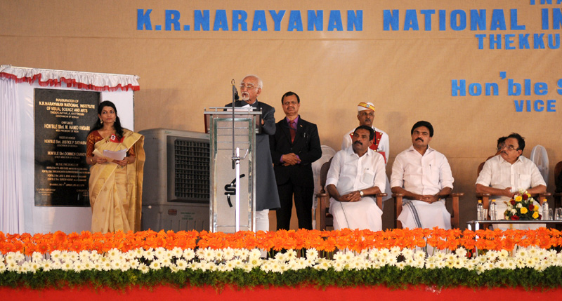 The Vice President, Mr. M. Hamid Ansari addressing the gathering after inaugurating the KR Narayanan National Institute of Visual Sciences & Arts, at Kottayam, in Kerala on January 11, 2016.