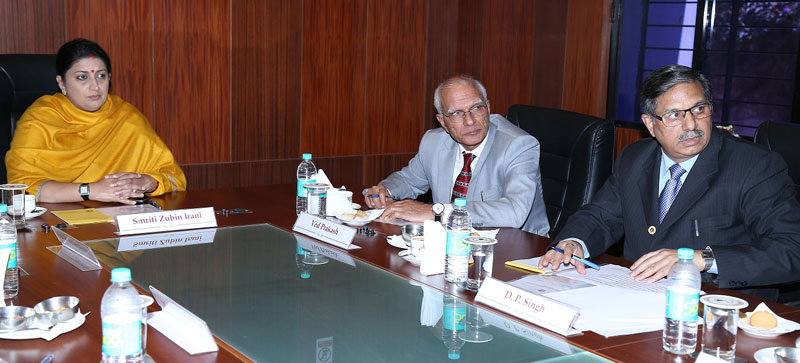 The Union Minister for Human Resource Development, Mrs. Smriti Irani at the discussion on the strengthening of NAAC and scaling up of assessment and accreditation activities of NAAC, in Bangalore on January 03, 2016. The Chairman, UGC, Prof. Ved Prakash and the Director, NAAC, Prof. D.P. Singh are also seen.