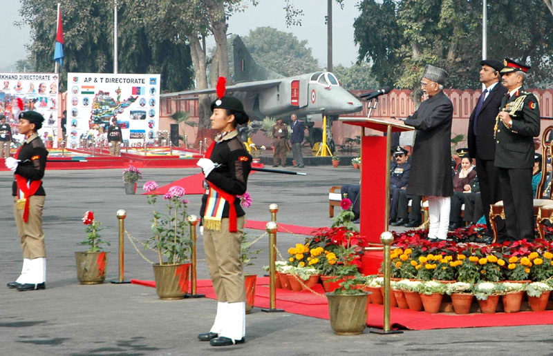 The Vice President, Mr. Mohd. Hamid Ansari addressing at the inauguration of the NCC Republic Day Camp 2016, in New Delhi on January 06, 2016. The Director General, NCC, Lt. Gen. Aniruddha Chakravarty is also seen.
