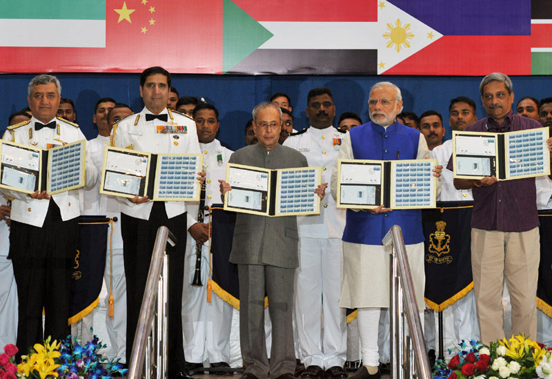 The President, Mr. Pranab Mukherjee releasing the Commemorative Stamp during at International Fleet Review 2016 venue, in Visakhapatnam on February 06, 2016. The Prime Minister, Mr. Narendra Modi, the Union Minister for Defence, Mr. Manohar Parrikar and the Chief of Naval Staff, Admiral R.K. Dhowan are also seen.