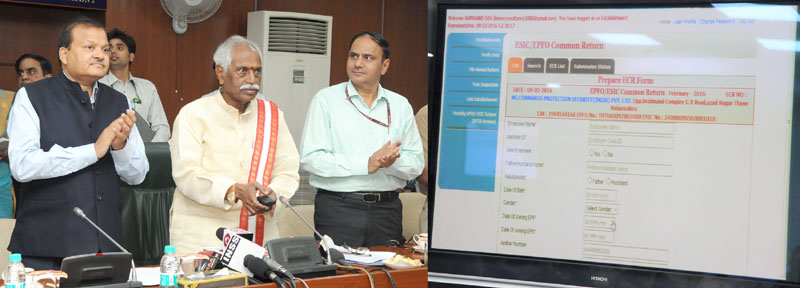The Minister of State for Labour and Employment (Independent Charge), Mr. Bandaru Dattatreya launching the Common Registration Facility under 5 Labour Acts on e-biz Portal, integration of the Annual Return under Mines Act 1952 and common ECR for EPFO/ESIC with the Shram Suvidha Portal, in New Delhi on March 09, 2016. The Secretary, Ministry of Labour and Employment, Mr. Shankar Aggarwal is also seen.