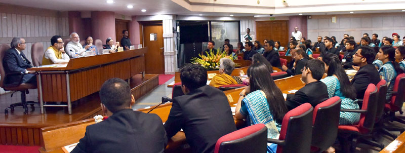 The Prime Minister, Mr. Narendra Modi interacting with the probationers of the Indian Revenue Service, in New Delhi on March 10, 2016. The Secretary, Revenue, Dr. Hasmukh Adhia and the Additional Principal Secretary to the Prime Minister, Dr. P.K. Mishra are also seen.
