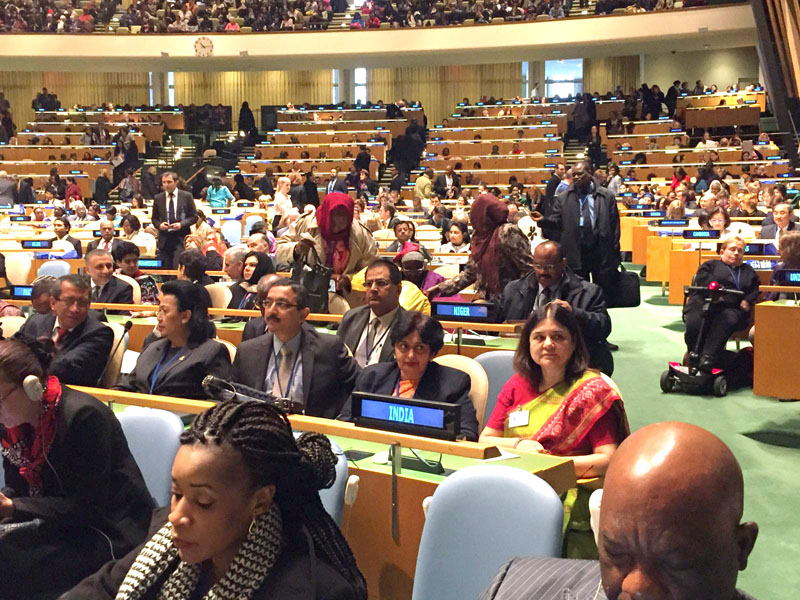 The Union Minister for Women and Child Development, Mrs. Maneka Sanjay Gandhi at the 60th Session of the UN Commission on Status of Women, in New York, USA on March 14, 2016.