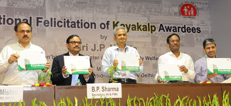 The Secretary (Health and Family Welfare), Mr. B.P. Sharma releasing the publication at the presentation ceremony of Kayakalp Award scheme, in New Delhi on March 16, 2016. The DGHS, Dr. Jagdish Prasad is also seen.