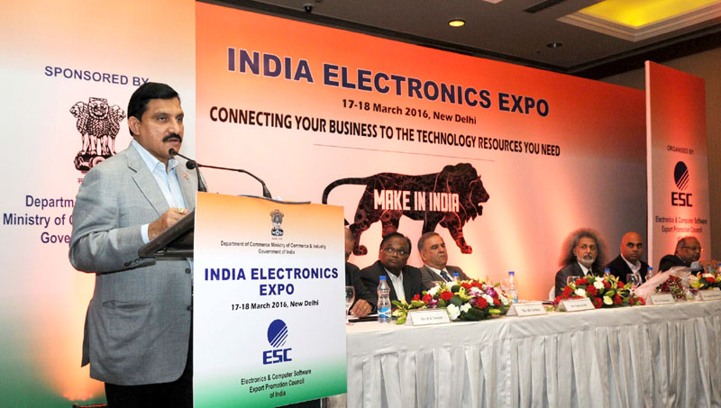 The Minister of State for Science and Technology and Earth Science, Mr. Y.S. Chowdary addressing at the inauguration of the India Electronics Expo - 2016, organised by the Electronics and Computer Software Export Promotion Council (ESC), in New Delhi on March 17, 2016.