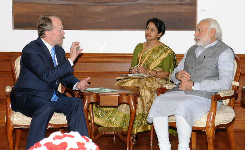 The Chairman, CISCO, Mr. John Chambers calls on the Prime Minister, Mr. Narendra Modi, in New Delhi on March 18, 2016.