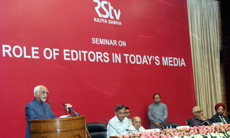 The Vice President, Mr. M. Hamid Ansari addressing the Seminar on the 'Role of Editors in Today's Media' organised by the Rajya Sabha Television, in New Delhi on March 19, 2016.