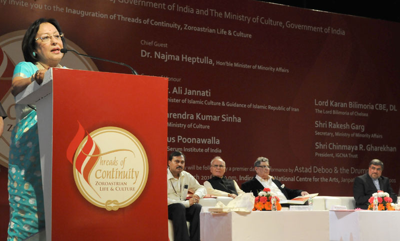 The Union Minister for Minority Affairs, Dr. Najma A. Heptulla addressing at the inauguration of the Threads of Continuity Zoroastrian Life & Culture, in New Delhi on March 21, 2016. The Secretary, Ministry of Culture, Mr. Narendra Kumar Sinha and other dignitaries are also seen.