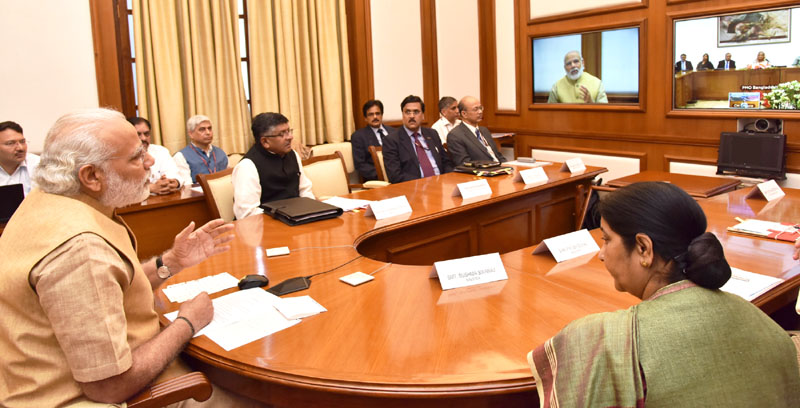 The Prime Minister, Mr. Narendra Modi dedicates the second cross border transmission interconnection system between India and Bangladesh, through video conferencing, in New Delhi on March 23, 2016.