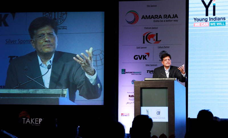 The Minister of State (Independent Charge) for Power, Coal and New and Renewable Energy, Mr. Piyush Goyal addressing at the CII - Young Indians: Take Pride 2016 summit, in New Delhi on March 25, 2016.