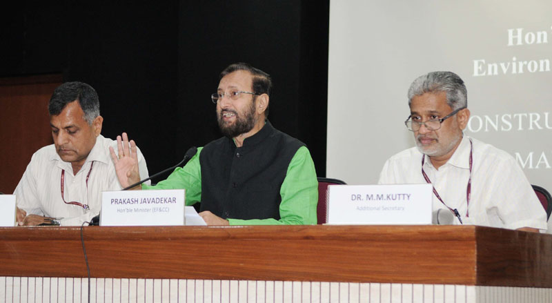 The Minister of State for Environment, Forest and Climate Change (Independent Charge), Mr. Prakash Javadekar addressing a press conference on the Construction Waste and Demolition Waste Management, in New Delhi on March 29, 2016. The Secretary, Ministry of Environment, Forest and Climate Change, Mr. Ashok Lavasa is also seen.