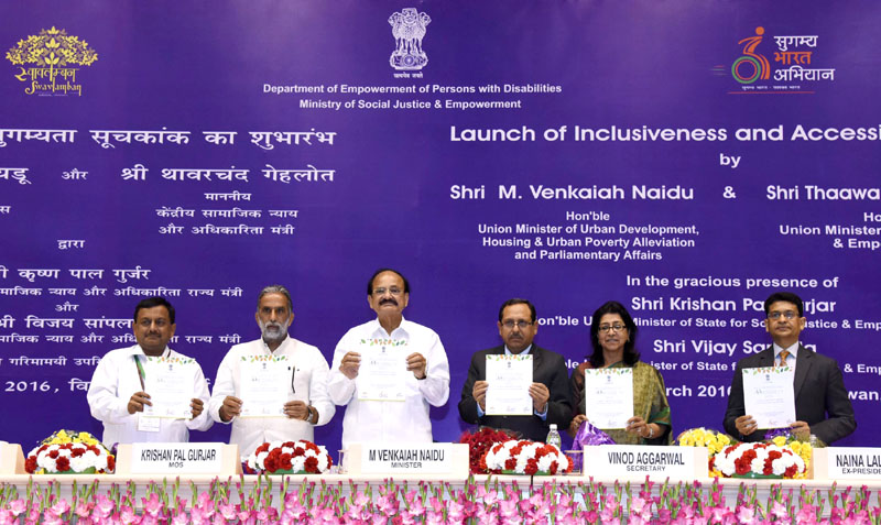 The Union Minister for Urban Development, Housing and Urban Poverty Alleviation and Parliamentary Affairs, Mr. M. Venkaiah Naidu launching the Inclusiveness and Accessibility Index, at a function, in New Delhi on March 30, 2016. The Minister of State for Social Justice & Empowerment, Mr. Krishan Pal and other dignitaries are also seen.