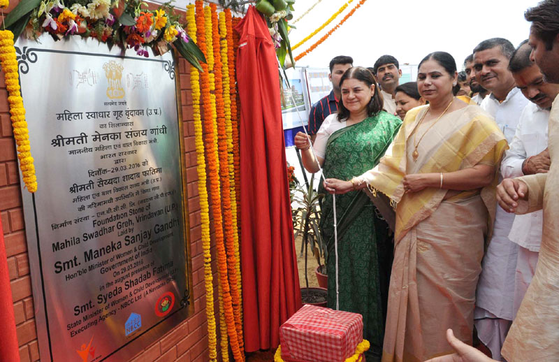 The Union Minister for Women and Child Development, Mrs. Maneka Sanjay Gandhi unveiling the plaque to lay the foundation stone of Mahila Swadhar Greh, in Vrindavan, Uttar Pradesh, on March 29, 2016 The State Minister of Women & Child Development, Uttar Pradesh, Mrs. Syeda Shadab Fatima is also seen.