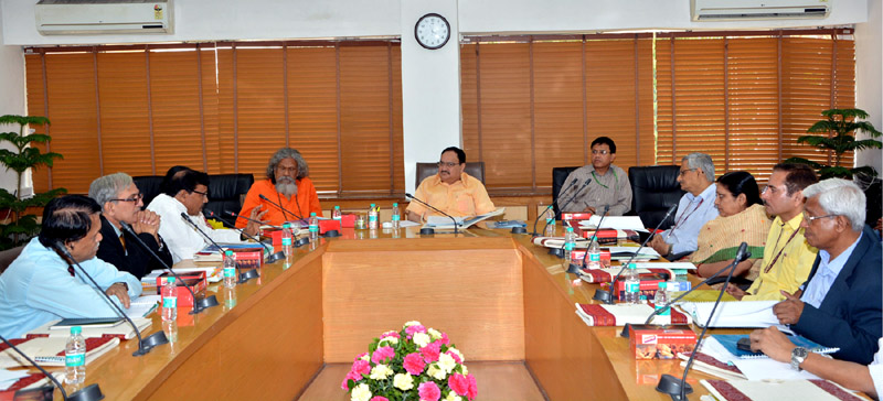 The Union Minister for Health & Family Welfare, Mr. J.P. Nadda presiding over the Governing Body and Institute Body meeting of the AIIMS, Bhubaneswar, in New Delhi on March 31, 2016. The Member of Parliament, Mr. Prasanna Kumar Patasani and the Secretary (Health and Family Welfare), Mr. B.P. Sharma are also seen.