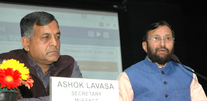 The Minister of State for Environment, Forest and Climate Change (Independent Charge), Mr. Prakash Javadekar addressing a press conference on pollution monitoring of River Ganga, in New Delhi on March 07, 2016. The Secretary, Ministry of Environment, Forest and Climate Change, Mr. Ashok Lavasa is also seen.