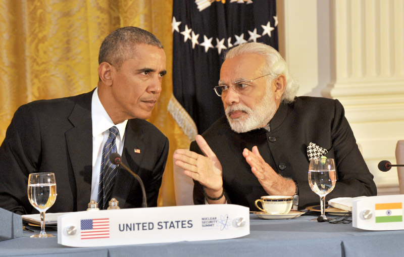 The Prime Minister, Mr. Narendra Modi at the dinner hosted by the President of United States of America (USA), Mr. Barack Obama, at the White House, in Washington D.C. on March 31, 2016.