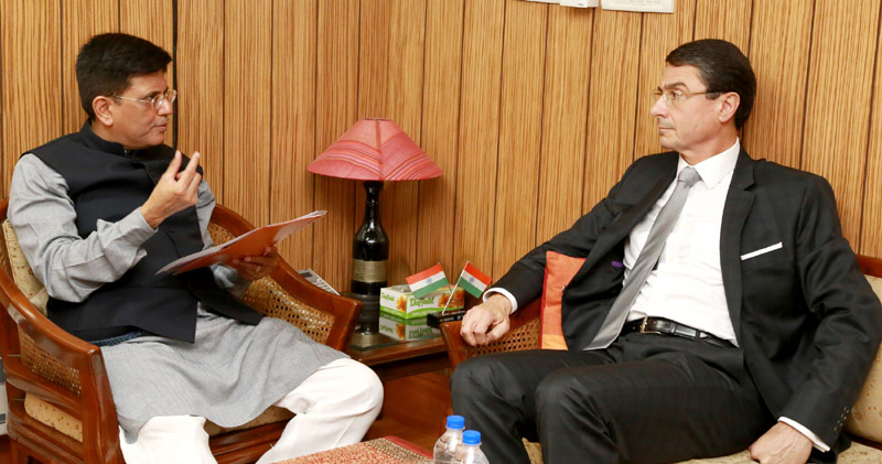 The German Ambassador to India, Dr. Martin Ney meeting the Minister of State (Independent Charge) for Power, Coal and New and Renewable Energy, Shri Piyush Goyal, in New Delhi on April 01, 2016.