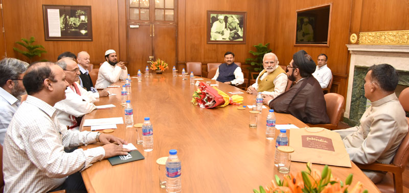 A delegation of eminent Muslim citizens calls on the Prime Minister, Mr. Narendra Modi, in New Delhi on April 13, 2016.