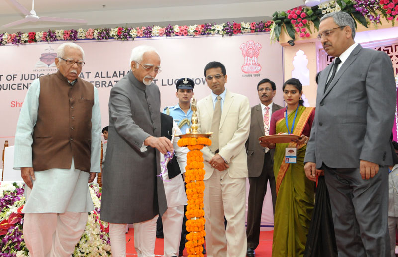 The Vice President, Mr. M. Hamid Ansari lighting the lamp at an event to mark the Sesquicentennial Celebrations of the High Court of Judicature of Allahabad, in Lucknow on April 14, 2016. The Governor of Uttar Pradesh, Mr. Ram Naik and the Chief Justice of Allahabad High Court, Dr. Justice D.Y. Chandrachud are also seen.