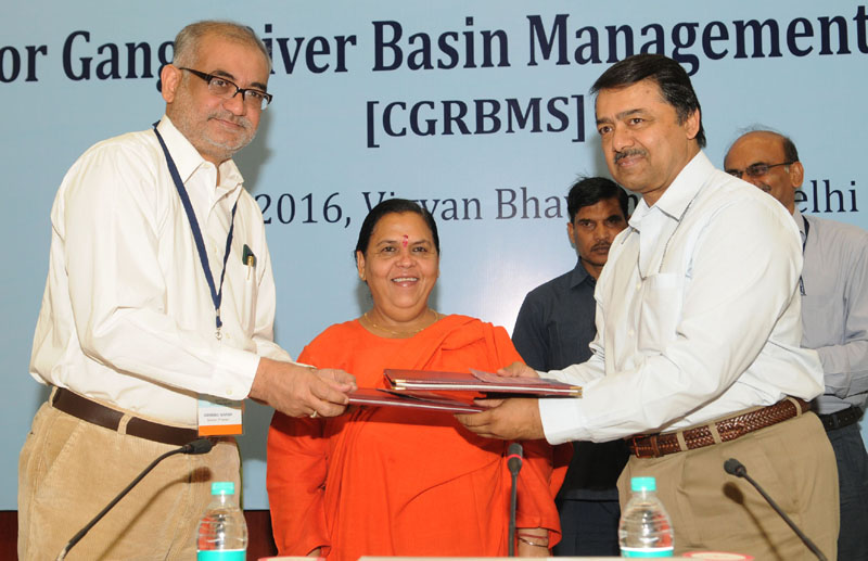 The Union Minister for Water Resources, River Development and Ganga Rejuvenation, Sushri Uma Bharti at the inaugural meet of the project on Center for Ganga River Basin Management and Studies, in New Delhi on April 17, 2016.