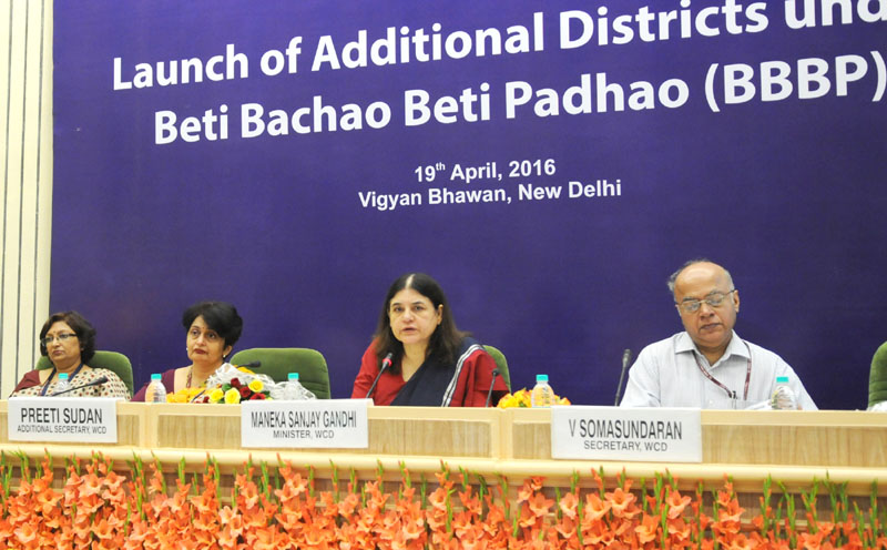 The Union Minister for Women and Child Development, Mrs. Maneka Sanjay Gandhi addressing at the launch of the Beti Bachao, Beti Padhao Scheme in Additional 61 Districts, in New Delhi on April 19, 2016. The Secretary, WCD, Mr. V. Somasundaran and other dignitaries are also seen.