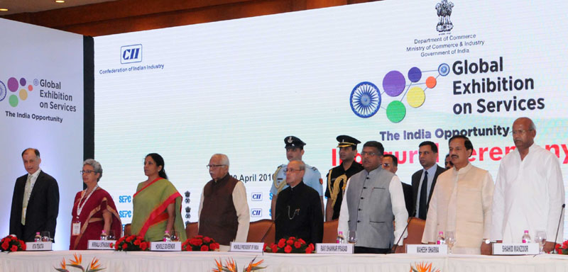 The President, Mr. Pranab Mukherjee at the inauguration of the Global Exhibition on Services, 2016, in Greater Noida, Uttar Pradesh on April 20, 2016. The Governor of Uttar Pradesh, Shri Ram Naik, the Union Minister for Communications & Information Technology, Shri Ravi Shankar Prasad, the Minister of State for Commerce & Industry (Independent Charge), Smt. Nirmala Sitharaman, the Minister of State for Culture (Independent Charge), Tourism (Independent Charge) and Civil Aviation, Dr. Mahesh Sharma, the Commerce Secretary, Ms. Rita A. Teaotia and other dignitaries are also seen.