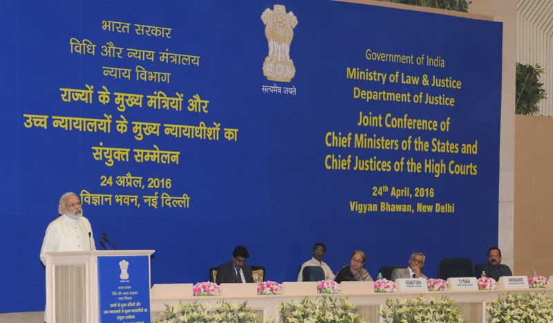 The Prime Minister, Mr. Narendra Modi addressing at the inauguration of the Joint Conference of CMs & Chief Justices of HCs, in New Delhi on April 24, 2016. The Union Minister for Law & Justice, Mr. D.V. Sadananda Gowda and the Chief Justice of India, Mr. Justice T.S. Thakur are also seen.
