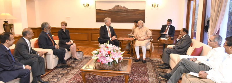 The President, Carnegie Endowment for Int'l Peace, Mr. William J. Burns along with a delegation, calls on the Prime Minister, Mr. Narendra Modi, in New Delhi on April 05, 2016.