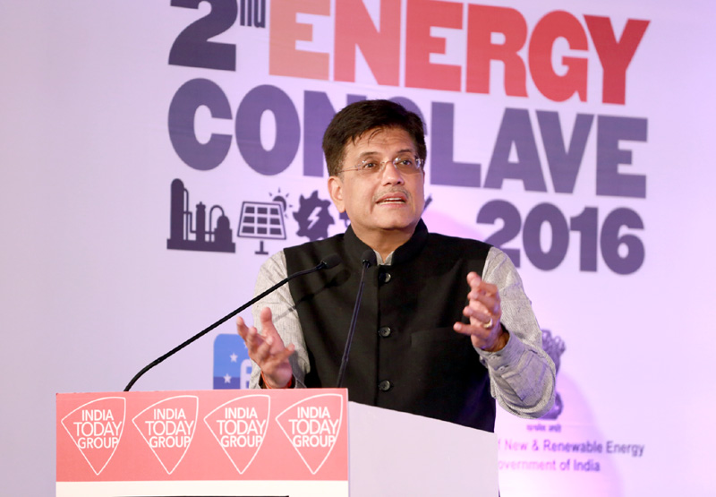 The Minister of State (Independent Charge) for Power, Coal and New and Renewable Energy, Mr. Piyush Goyal addressing at the Mail Today 2nd Energy Conclave, in New Delhi on April 05, 2016.
