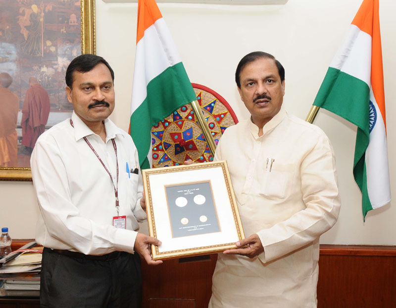 The Minister of State for Culture (Independent Charge), Tourism (Independent Charge) and Civil Aviation, Dr. Mahesh Sharma releasing a coin on Maharana Pratap, in New Delhi on May 09, 2016. The Secretary, Ministry of Culture, Mr. Narendra Kumar Sinha is also seen.