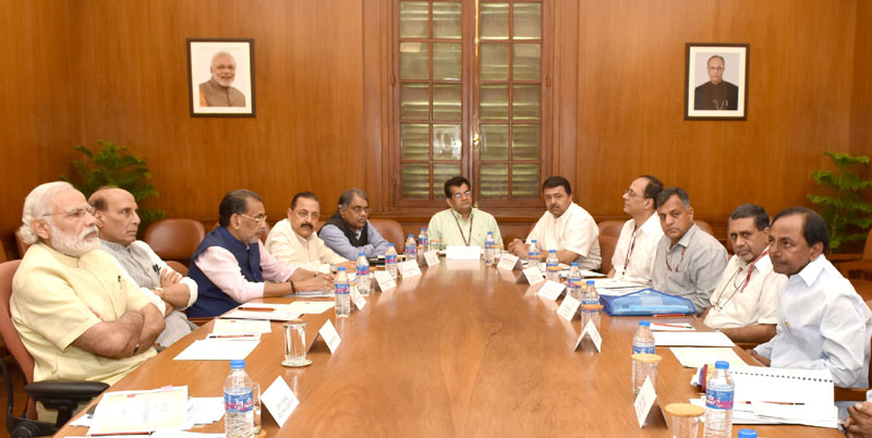 The Prime Minister, Mr. Narendra Modi meeting the Chief Minister of Telangana, Mr. K. Chandrashekar Rao to discuss drought situation, in New Delhi on May 10, 2016.