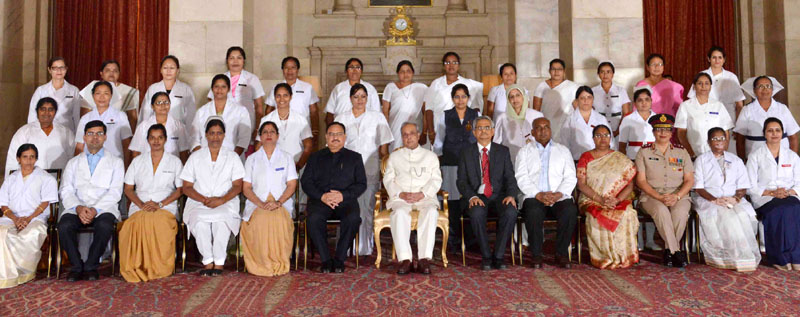 The President, Mr. Pranab Mukherjee presented the Florence Nightingale Awards 2016 to meritorious nursing personnel, on the occasion of the International Nurses Day, at Rashtrapati Bhavan, in New Delhi on May 12, 2016. The Union Minister for Health & Family Welfare, Mr. J.P. Nadda and the Secretary, Ministry of Health and Family Welfare, Mr. B.P. Sharma are also seen.