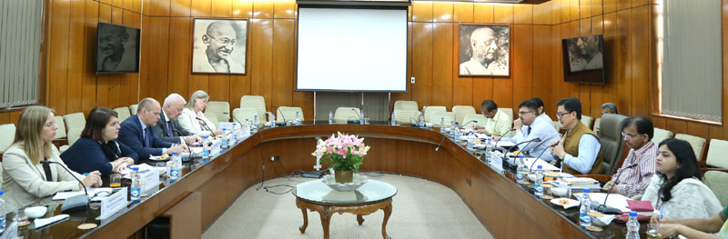 A delegation from Sweden led by the Minister for Justice & Migration, Mr. Morgan Johansson meeting the Minister of State for Home Affairs, Mr. Kiren Rijiju, in New Delhi on May 12, 2016. The senior officers from Ministry of Home Affairs and Ministry of External Affairs are also seen.