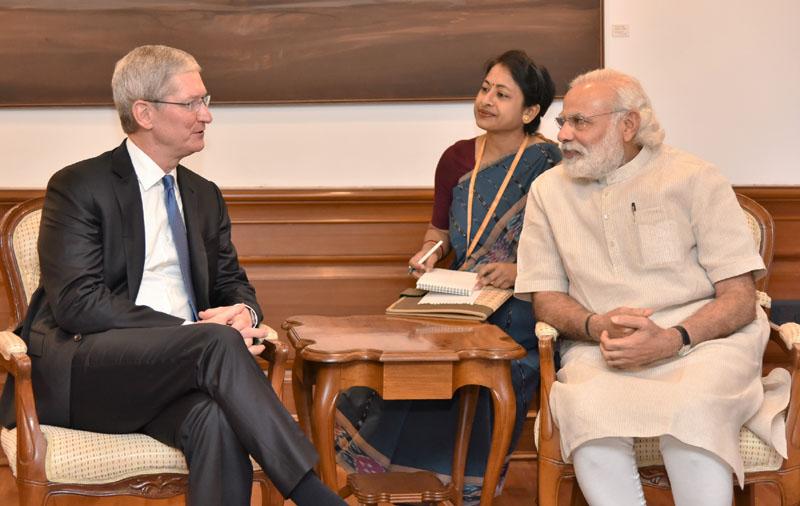The Apple CEO, Mr. Tim Cook calls on the Prime Minister, Mr. Narendra Modi, in New Delhi on May 21, 2016.