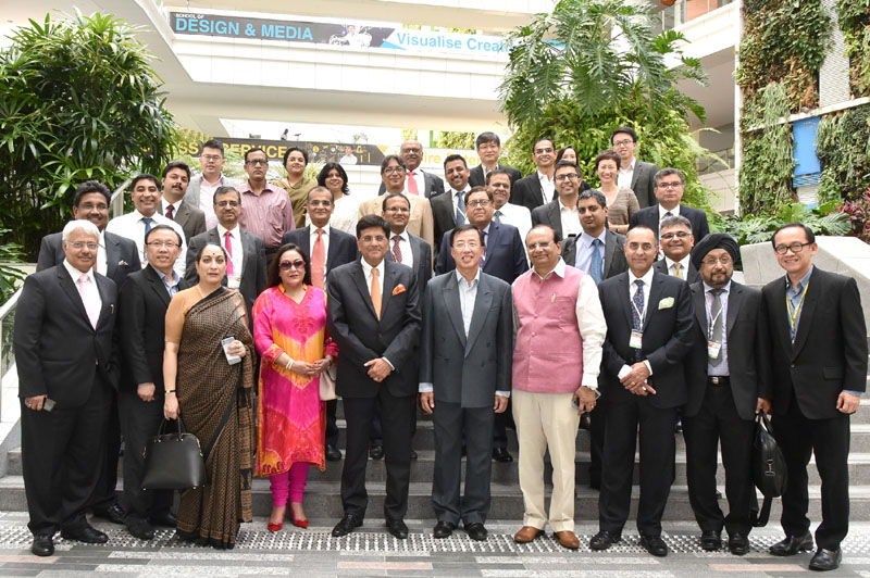 The Minister of State (Independent Charge) for Power, Coal and New and Renewable Energy, Mr. Piyush Goyal at the Institute of Technical Education College Central, in Singapore on May 23, 2016.