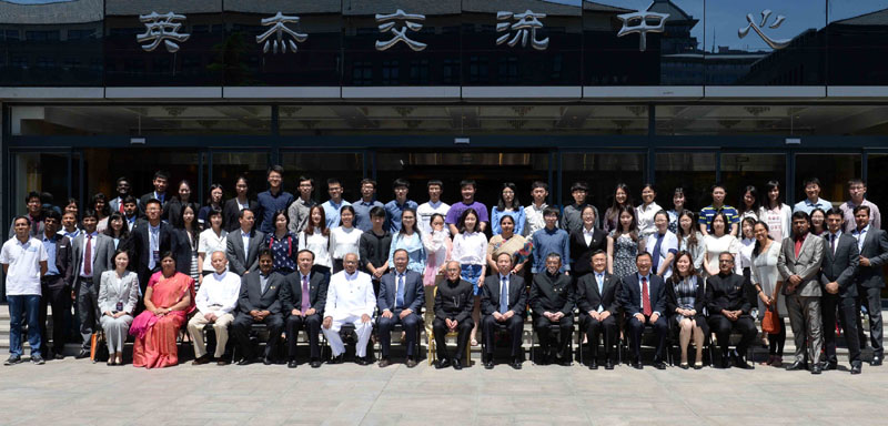 The President,Mrs. Pranab Mukherjee in a group photograph with the students and faculty members of Peking University, in Beijing, China on May 26, 2016.