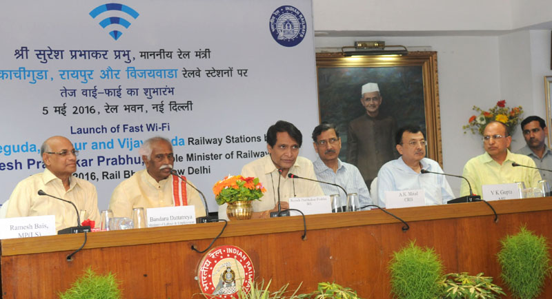 The Union Minister for Railways, Mr. Suresh Prabhakar Prabhu addressing at the inauguration of the Fast Wi-Fi services at Vijayawada (Andhra Pradesh), Kachiguda (Telangana) and Raipur (Chhattisgarh) Railway Stations, through Video Conferencing from Rail Bhavan, in New Delhi on May 05, 2016. The Minister of State for Labour and Employment (Independent Charge), Mr. Bandaru Dattatreya, the Chairman, Railway Board, Mr. A.K. Mital and other Board Members are also seen.
