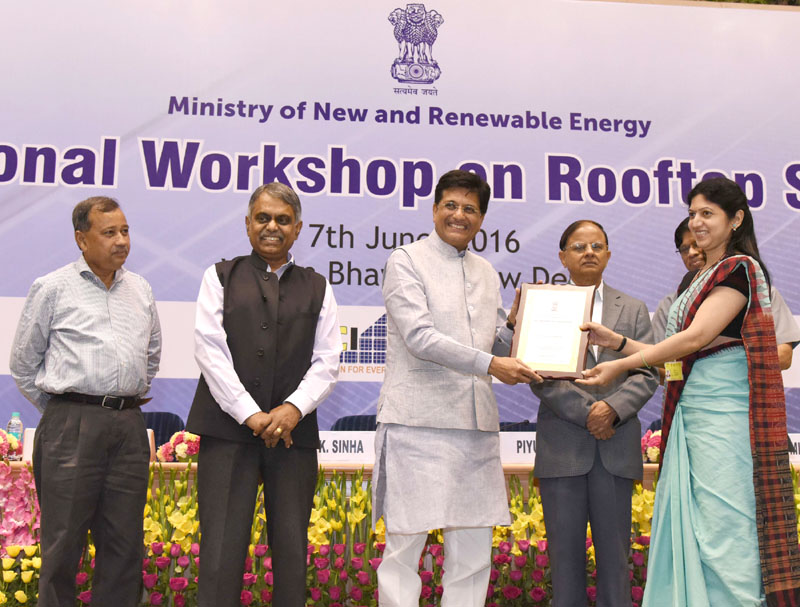 The Minister of State (Independent Charge) for Power, Coal and New and Renewable Energy, Mr. Piyush Goyal presented the National Excellence Awards-2016, at the inaugural session of the National Workshop on Rooftop Solar Power, organised by the Ministry of New & Renewable Energy, in New Delhi on June 07, 2016. (File Photo)