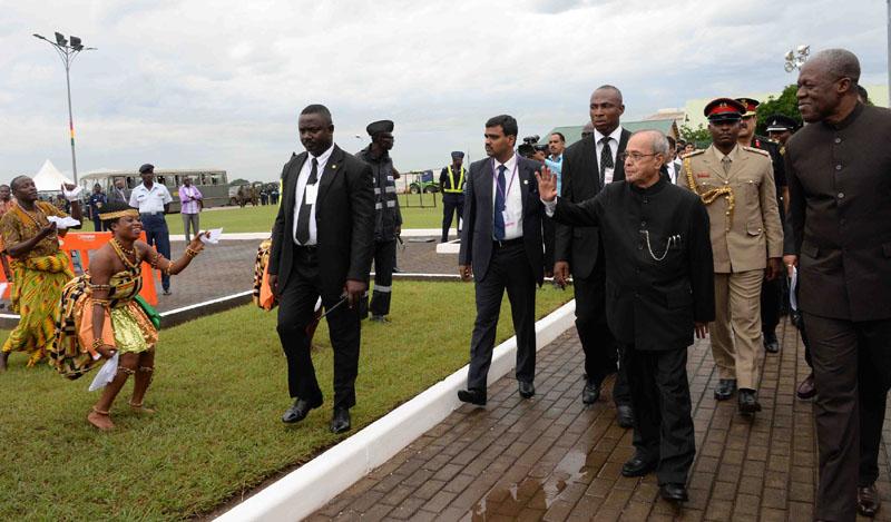 President, Mr. Pranab Mukherjee during his Ceremonial Welcome at Kotoka International Airport, in Ghana (Accra) on June 12, 2016.