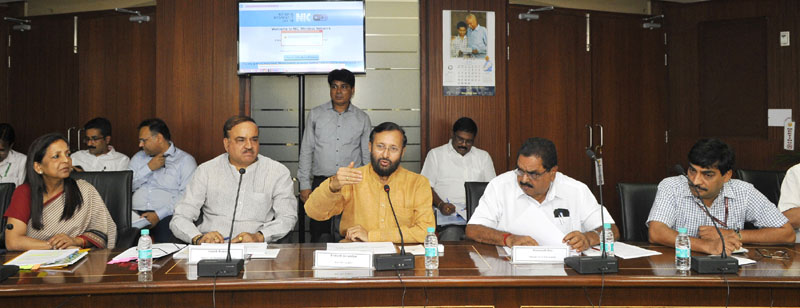 The Union Minister for Chemicals and Fertilizers, Mr. Ananth Kumar and the Minister of State for Environment, Forest and Climate Change (Independent Charge), Mr. Prakash Javadekar at the presentation on abatement of pollution, conservation and restoration of lakes of Bengaluru, in New Delhi on June 14, 2016.