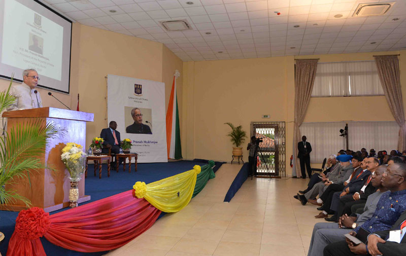 The President, Mr. Pranab Mukherjee addressing at the Institute of Statistical, Social & Economic Research, in Accra, Ghana on June 13, 2016.