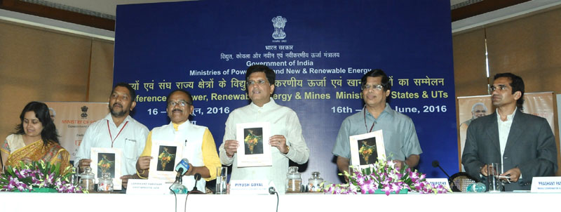 The Minister of State (Independent Charge) for Power, Coal and New and Renewable Energy, Mr. Piyush Goyal at the launching of URJA Mobile App, Expansion of DEEP Portal, Launch of UJALA and Mobile App on Vidyut Pravah, in Goa on June 16, 2016. The Chief Minister of Goa, Mr. Laxmikant Parsekar and the Secretary, Ministry of New & Renewable Energy, Mr. Upendra Tripathy are also seen.