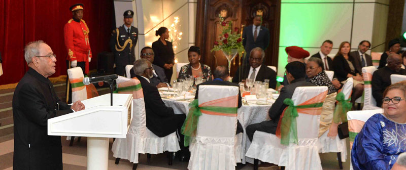 The President, Mr. Pranab Mukherjee addressing at the banquet hosted in his honour by the President of the Republic of Namibia, Dr. Hage G. Geingob, at State House, in Windhoek, Namibia on June 16, 2016.