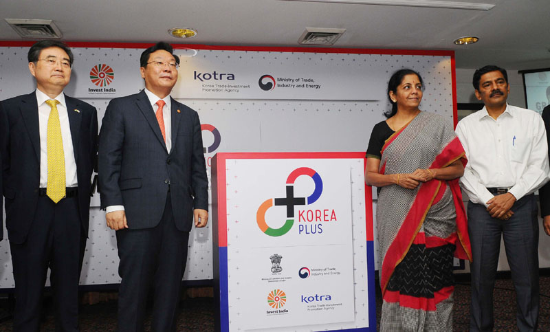 The Minister of State for Commerce & Industry (Independent Charge), Mrs. Nirmala Sitharaman inaugurating the office of KOREA PLUS, in New Delhi on June 18, 2016.