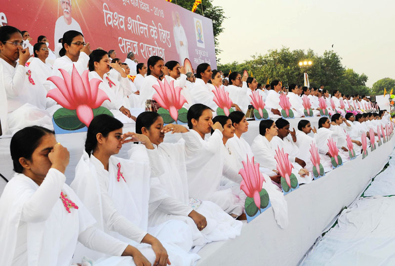 A view of the grand yoga assembly for Health & Harmony, organised by Brahma Kumaris, ahead of the International Day of Yoga-2016, at the Red Fort ground, in Delhi on June 19, 2016.