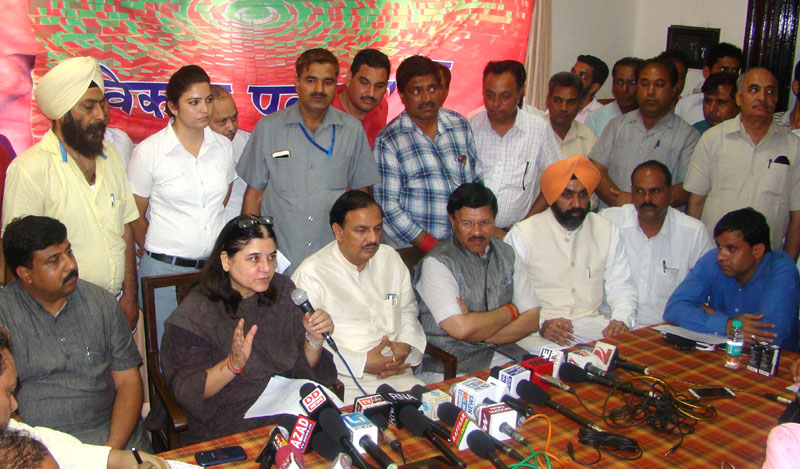 The Union Minister for Women and Child Development, Mrs. Maneka Sanjay Gandhi addressing at a press conference. (File Photo)