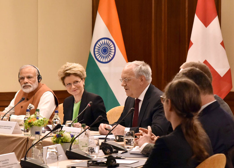 The Prime Minister, Mr. Narendra Modi and the President of the Swiss Confederation, Mr. Johann Schneider-Ammann at a roundtable meeting with the Swiss business leaders, in Geneva on June 06, 2016.