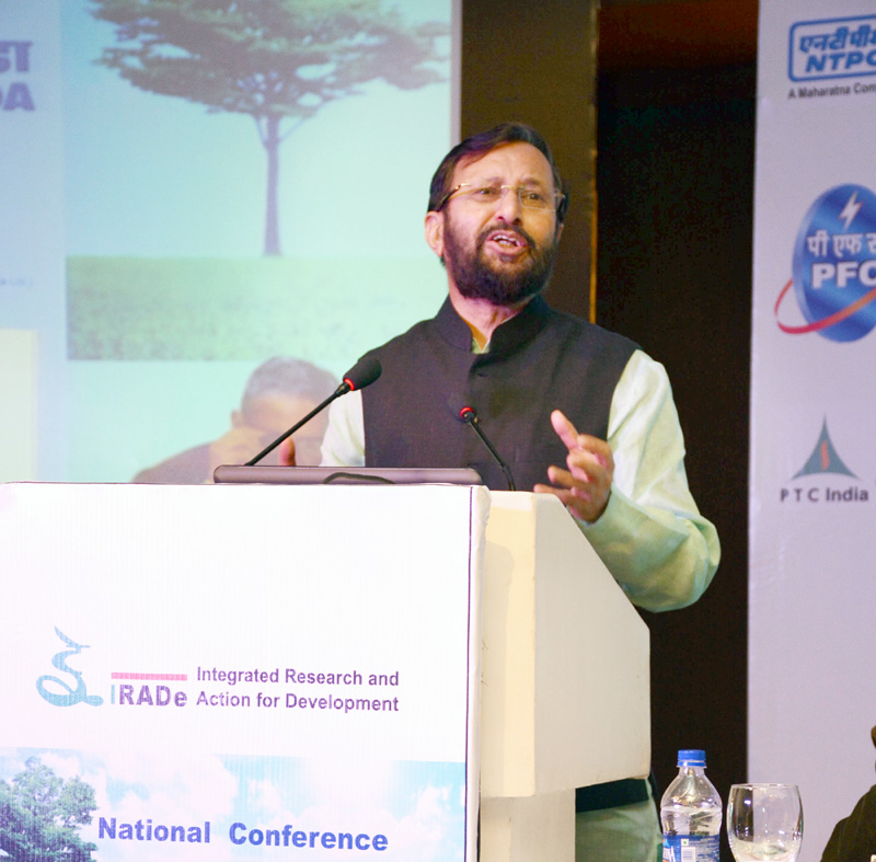The Union Minister for Human Resource Development, Mr. Prakash Javadekar delivering the inaugural address at the National Conference on 'Post-Paris Climate Action', organised by IRADe, in New Delhi on July 12, 2016.